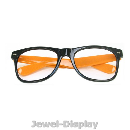 Glasses Frames With Thick Arms : New Black Orange Arms Retro Nerd Thick Rim Wayfarer ...